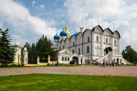 KAZAN, RUSSIA - JULY 18, 2018: Cathedral of the Annunciation in the Kazan Kremlin, Kazan, capital of Republic of Tatarstan, Russia