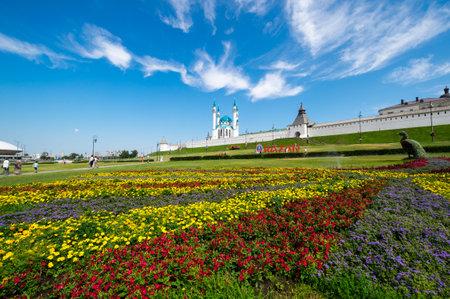 Panoramic view of the Kazan Kremlin and the Kul Sharif Mosque, Kazan, Tatarstan, Russia