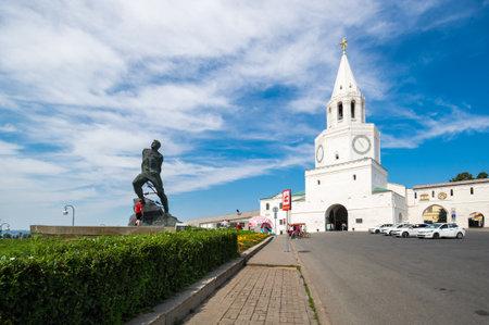 View of Spasskaya Tower (Tower of the Savior), the main entranceway to the Kazan Kremlin, Tatarstan, Russia