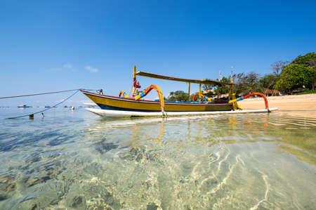 The coast of Indian ocean on resort Sanur of island Bali, Indonesia