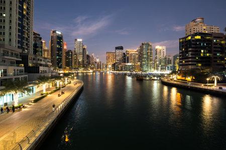 DUBAI, UNITED ARAB EMIRATES - 05 DECEMBER, 2018: View on skyscrapers of Dubai Marina, an artificial canal city in Dubai, United Arab Emirates