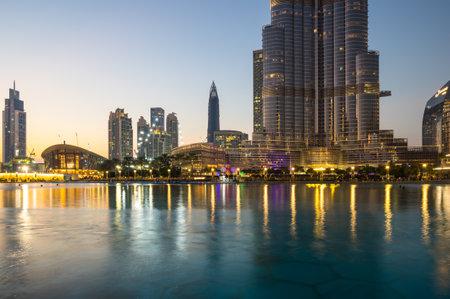 DUBAI, UNITED ARAB EMIRATES - 04 DECEMBER, 2018: View of skyscrapers in the center of Dubai, United Arab Emirates