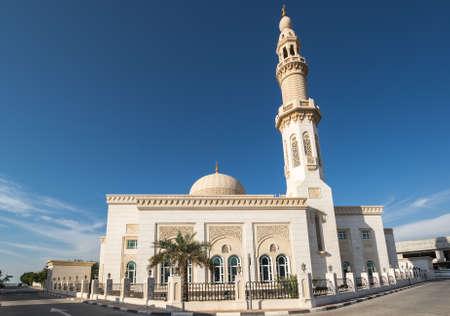View of the mosque in Dubai, United Arab Emirates 免版税图像