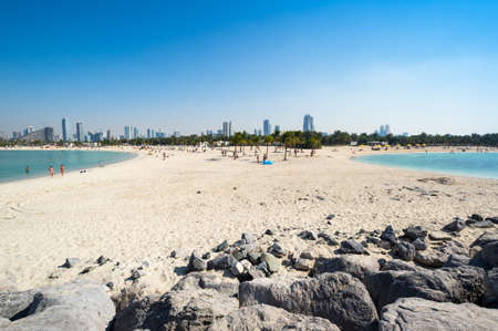 View of Al Mamzar Beach Park in Dubai, United Arab Emirates