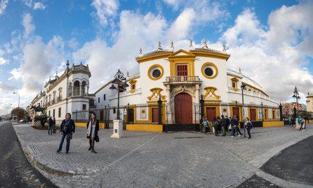 SEVILLE, SPAIN - 08 APRIL, 2019: The Plaza de toros de la Real Maestranza de Caballeria de Sevilla is bullring in Seville, Spain Editorial