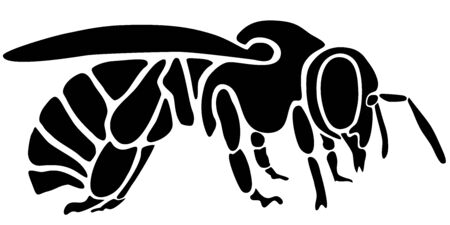 Bee as customizeable vector data in black and white