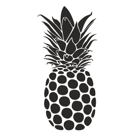 Pineapple as customizeable vector data in black and white Vector Illustration