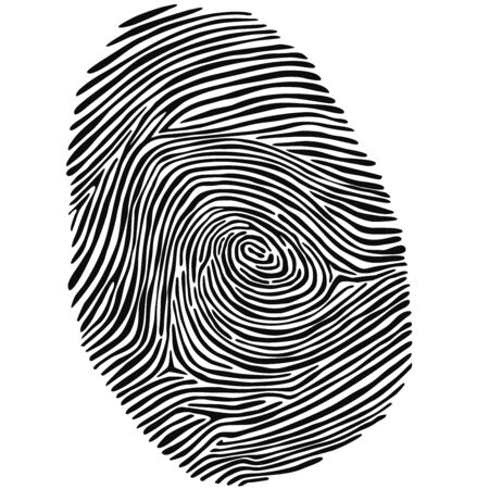 Fingerprint as customizeable vector data in black and white Stok Fotoğraf - 149764051