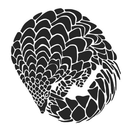 Pangolin as customizeable vector data in black and white