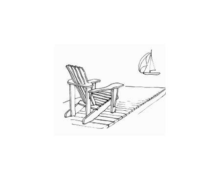 marker sketch of Adirondack chair on dock with sailing boat  Original artwork by contributor Stok Fotoğraf