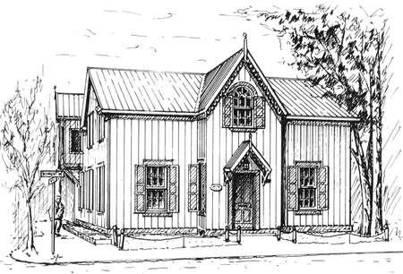 sketch of wooden buildings on street corner, imaginary details  Original artwork by contributor 版權商用圖片