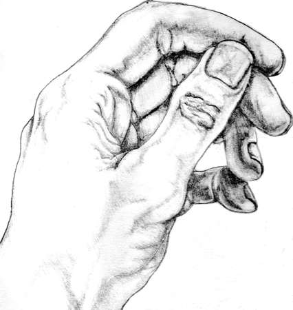 pencil drawing of man s hand  Original artwork by contributor