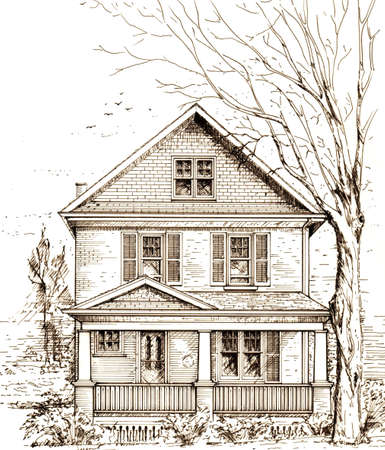 compiled: pen and ink sketch of a typical north american town house with front porch  This is not an actual house, but an image compiled of several similar properties  Original artwork by contributor