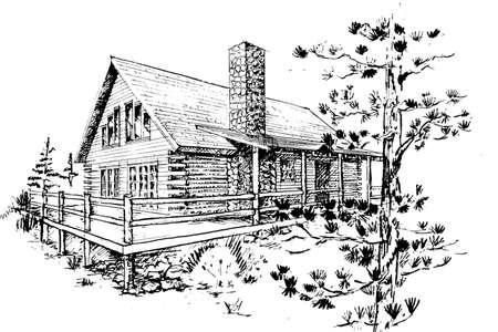 hand drawn sketch of modern log house design  Architectural design, not built  Original design and artwork by contributor Фото со стока