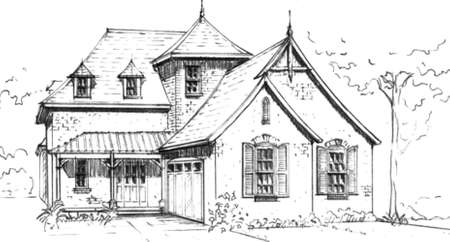 country house style: hand drawn pencil sketch of  French Country  style house design  proposed design only, not built  Original design and artwork by contributor