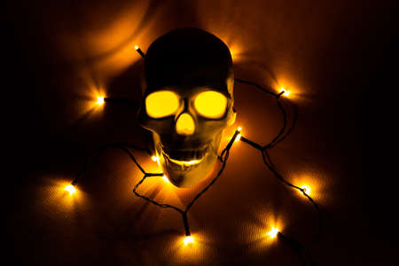 White skull with Christmas light around it. Minimal holiday concept