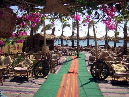 seacoast: Cafe on seacoast in Egypt. Rural (village) style.