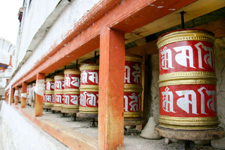 Buddhist Prayer wheels in Ladakh, India photo