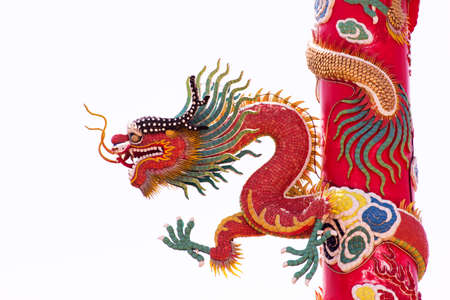 Chinese Dragon Wrapped around red pole on isolate background photo