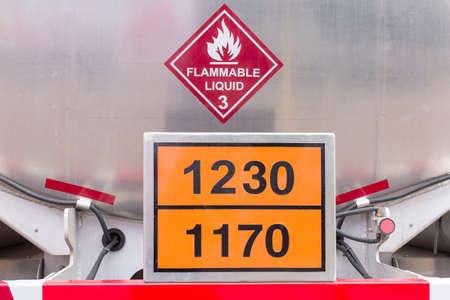 Flammable liquid tank on truck