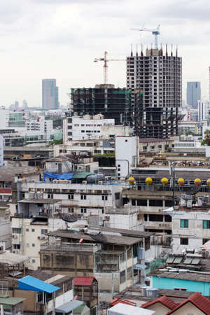 congested: New building construction in a heavily congested urban area