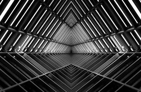 metal structure similar to spaceship interior in black and white Archivio Fotografico