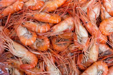 freshwater: boiled giant freshwater prawn Stock Photo