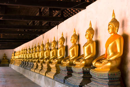 belive: Row of sacred Buddha images in Putthaisawan Temple, located at Ayuttaya Province, Thailand