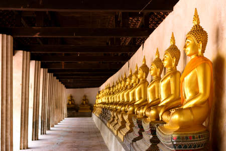 ayuttaya: Row of sacred Buddha images in Putthaisawan Temple, located at Ayuttaya Province, Thailand