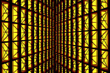 rid: Metal design of an interior in a modern building in yellow light Stock Photo