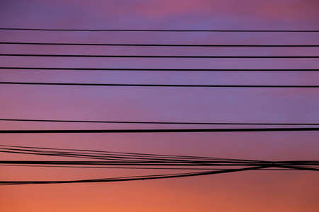 tranfer: cable against twilight sky background