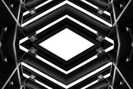 metal structure: metal structure similar to spaceship interior in black and white Stock Photo