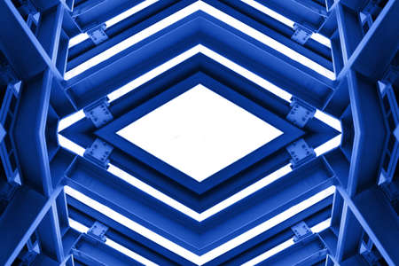 metal structure: metal structure similar to spaceship interior in blue tone