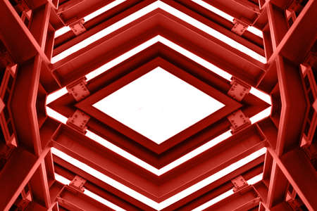 steelwork: metal structure similar to spaceship interior in red tone