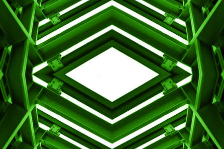 green tone: metal structure similar to spaceship interior in green tone Stock Photo