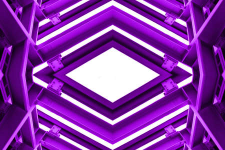 steelwork: metal structure similar to spaceship interior in purple tone