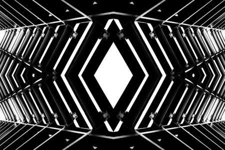 steelwork: metal structure similar to spaceship interior, black and white photo Stock Photo