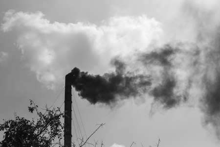 hellish: Smoke emission from factory pipe, global warming and environment