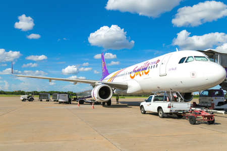 airways: Bangkok, Thailand.- September 17, Thai Smile Airways preparing to flying from Don Mueang International Airport on September 17, 2015 in Bangkok, Thailand. Thai Smile is the low cost airline of Thai airways. Editorial