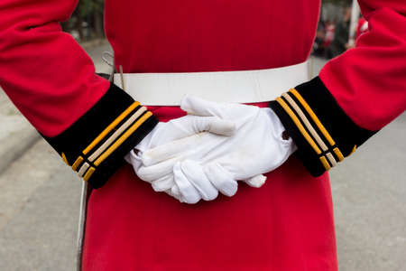 white gloves: hands of a royal guard wearing white gloves