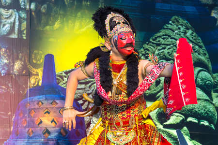 performace: Jakarta, Indonesia - January 15, 2015. Klana Mask Dance Javanese dance, Indonesia traditional performance in Jakarta, Indonesia