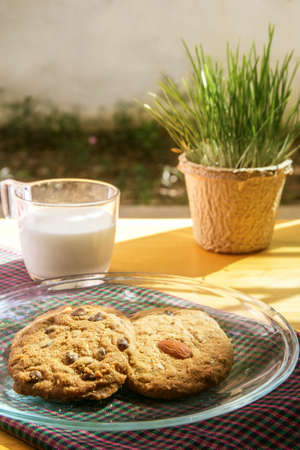 chocolate chip cookie and almond cookie with milk in the morning