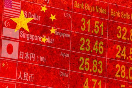 banco mundial: bandera r�stica de China, con una pantalla de tipo de cambio de moneda extranjera