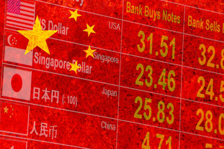 rustic flag of China with foreign currency exchange rate display screen