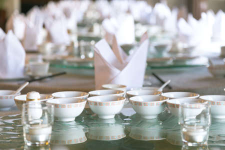 chinese table set for catering at banquet room in the restaurant, selective focus Reklamní fotografie