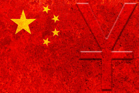 chinese currency symbol (yuan) on the rustic chinese flag