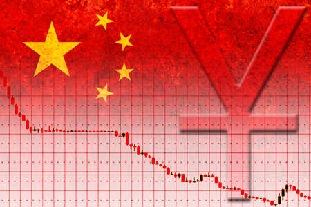 chinese currency (yuan) and devaluation graph on the rustic chinese flag Reklamní fotografie