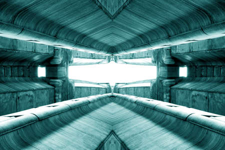 structure of public building similar to futuristic terminal of spaceship station interior in green light. modern inspiration of architecture, train station interior design. abstract background and building concept Reklamní fotografie