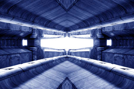 structure of public building similar to futuristic terminal of spaceship station interior in blue light. modern inspiration of architecture, train station interior design. abstract background and building concept