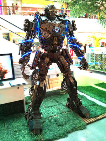 The decorative metal humanoid-robot-like model at a shopping mall, Lampang, Thailand photo